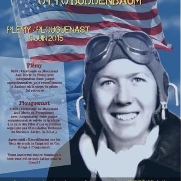 Affiche réalisée pour une journée hommage au pilote américain Otto Buddenbaum à Plémy/Plouguenast (22)